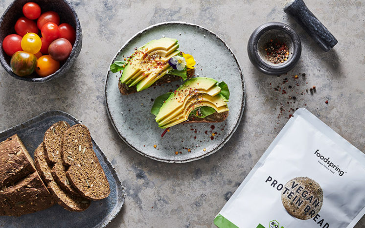 Vegan Protein Bread with avocado slices - a good suggestion of what to eat before a workout