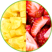 Freshly cut pineapple and strawberry pieces